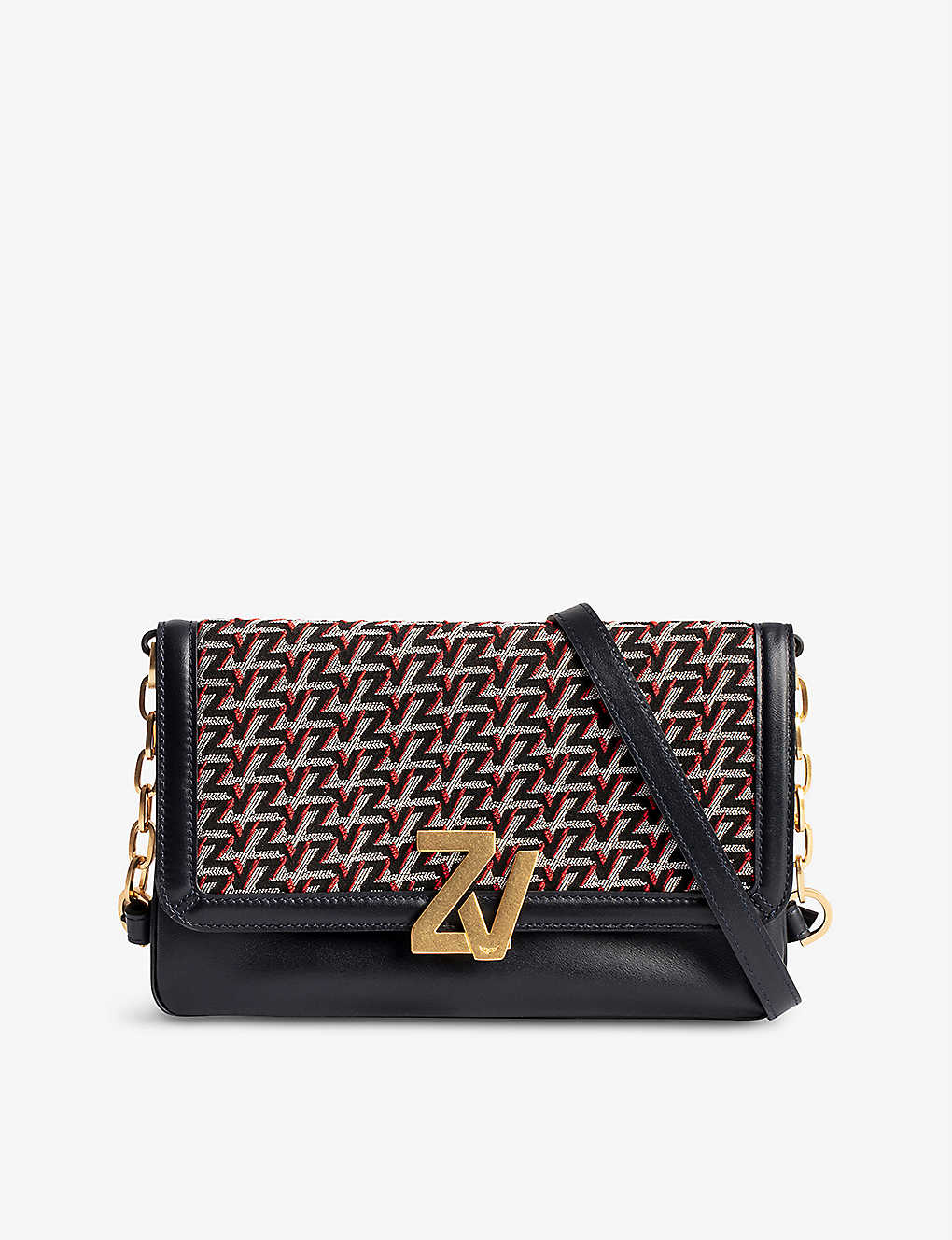 ZADIG&VOLTAIRE: ZV monogram leather and canvas clutch bag