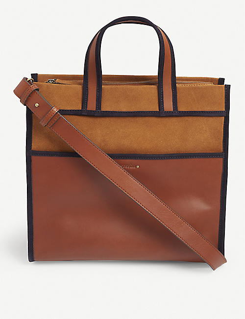 SESSUN: Lester suede and leather shopper bag