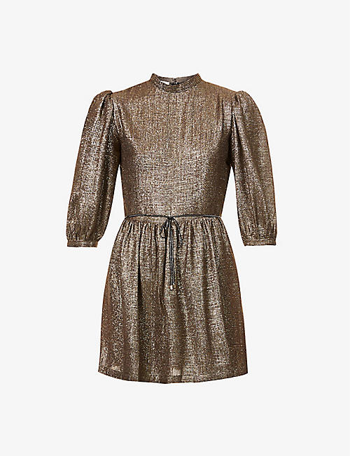 SESSUN: Ruby checked metallic crepe mini dress