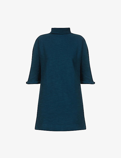 SESSUN: Bud turtleneck cotton-blend mini dress