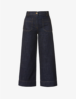 SESSUN: Wide-leg high-rise cotton-twill jeans