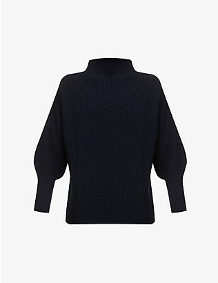 SESSUN: Jammy funnel-neck wool-blend jumper