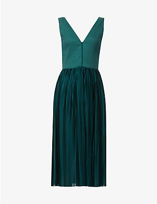 SESSUN: Pleated knitted and satin midi dress
