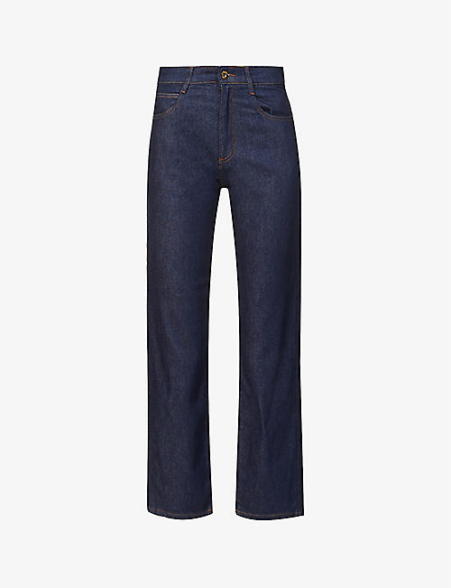 SESSUN: Straight-leg mid-rise stretch-denim jeans