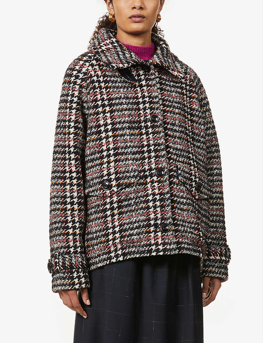 SESSUN: Lee Valley woven-pattern knitted coat