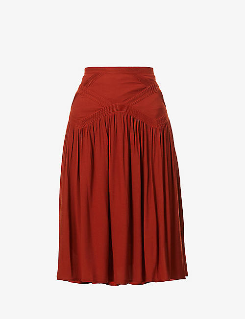 SESSUN: High-waist crepe midi skirt