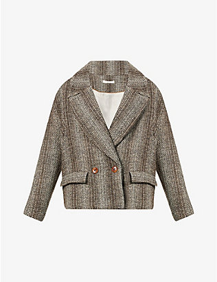 SESSUN: Short pea coat in heathered fancy tweed