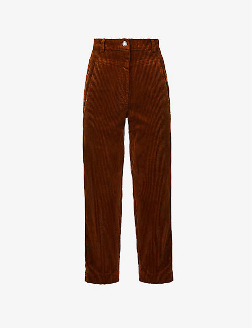 SESSUN: Rosario tapered-leg mid-rise corduroy trousers