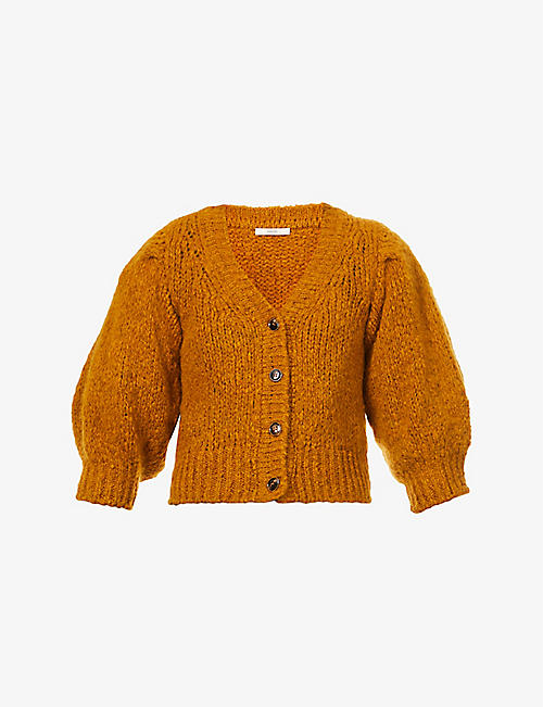 SESSUN: Haylie puff-sleeve knitted cardigan