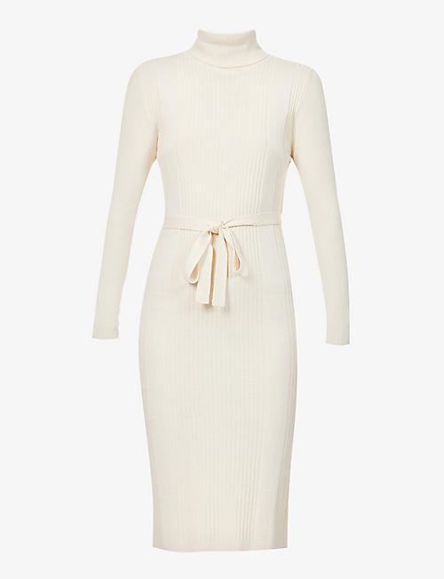 SESSUN: Roll-neck wool-blend midi dress