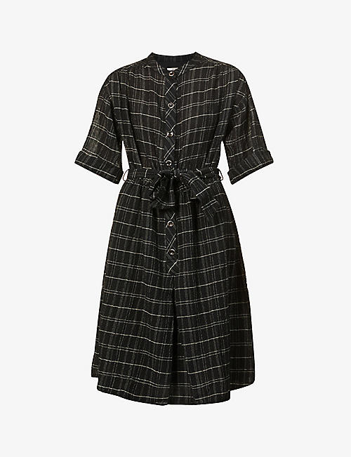 SESSUN: Loevan tartan-pattern woven midi dress