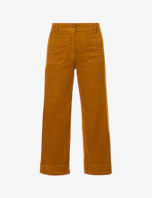 SESSUN: Hudson Street straight-leg high-rise corduroy trousers