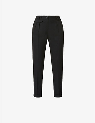 SESSUN: Waffled tapered mid-rise woven trousers