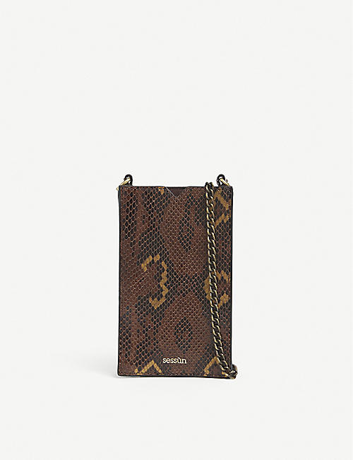 SESSUN: Ama python-embossed leather phone pouch
