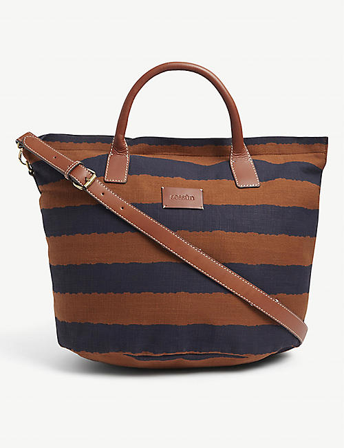 SESSUN: Gemino striped cotton-blend shopper bag
