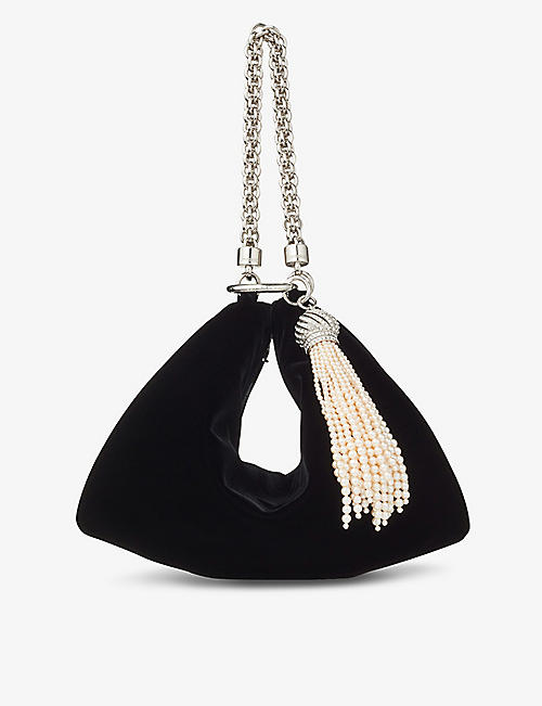JIMMY CHOO: Callie faux-pearl tassel velvet clutch bag