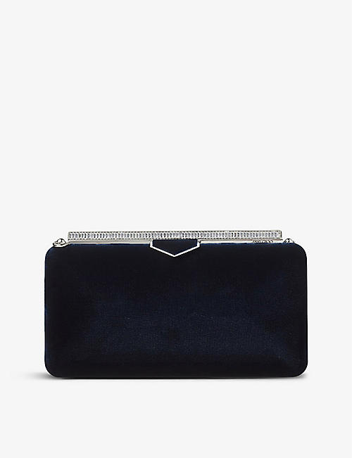 JIMMY CHOO: Ellipse crystal-embellished velvet clutch bag