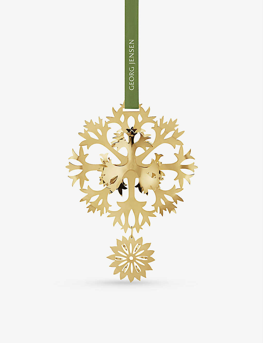 GEORG JENSEN: Ice Flower 18ct gold-plated tree decoration 6cm