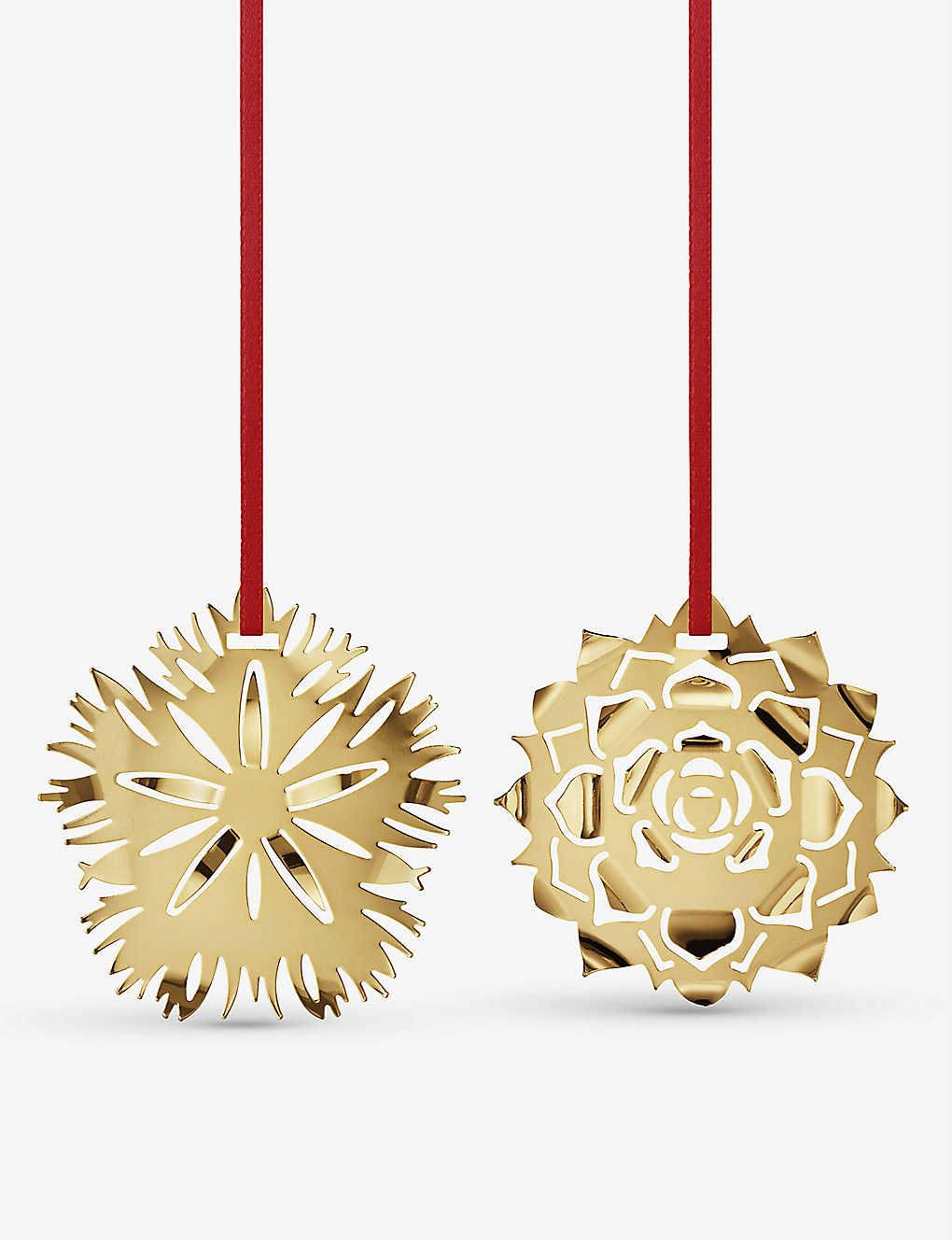 GEORG JENSEN: Dianthus 18ct gold-plated tree decoration set of two