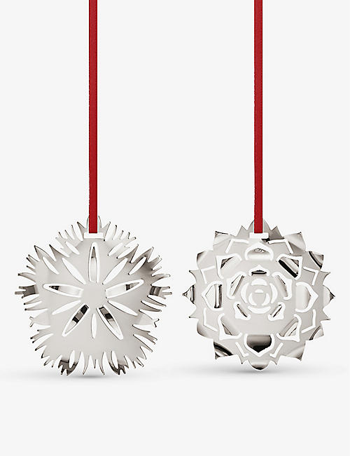 GEORG JENSEN: Dianthus palladium-plated tree decoration set of two