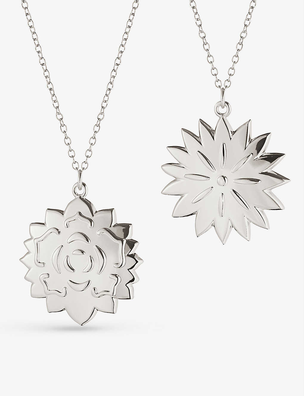 GEORG JENSEN: Dianthus & Rosette palladium-plated tree decorations set of two