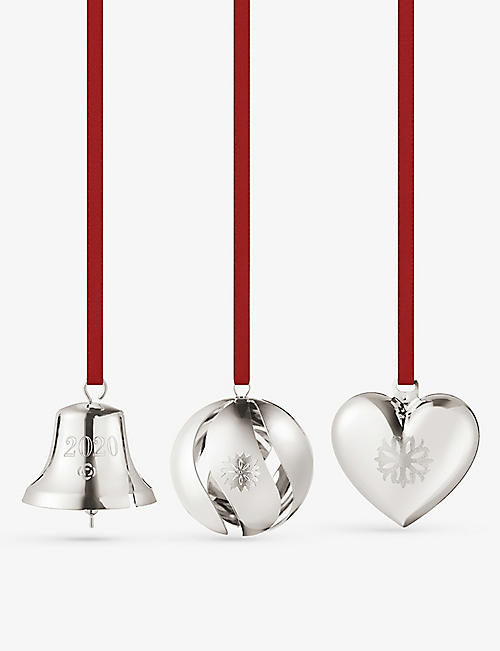 GEORG JENSEN: Bell & Heart palladium-plated tree decorations set of three