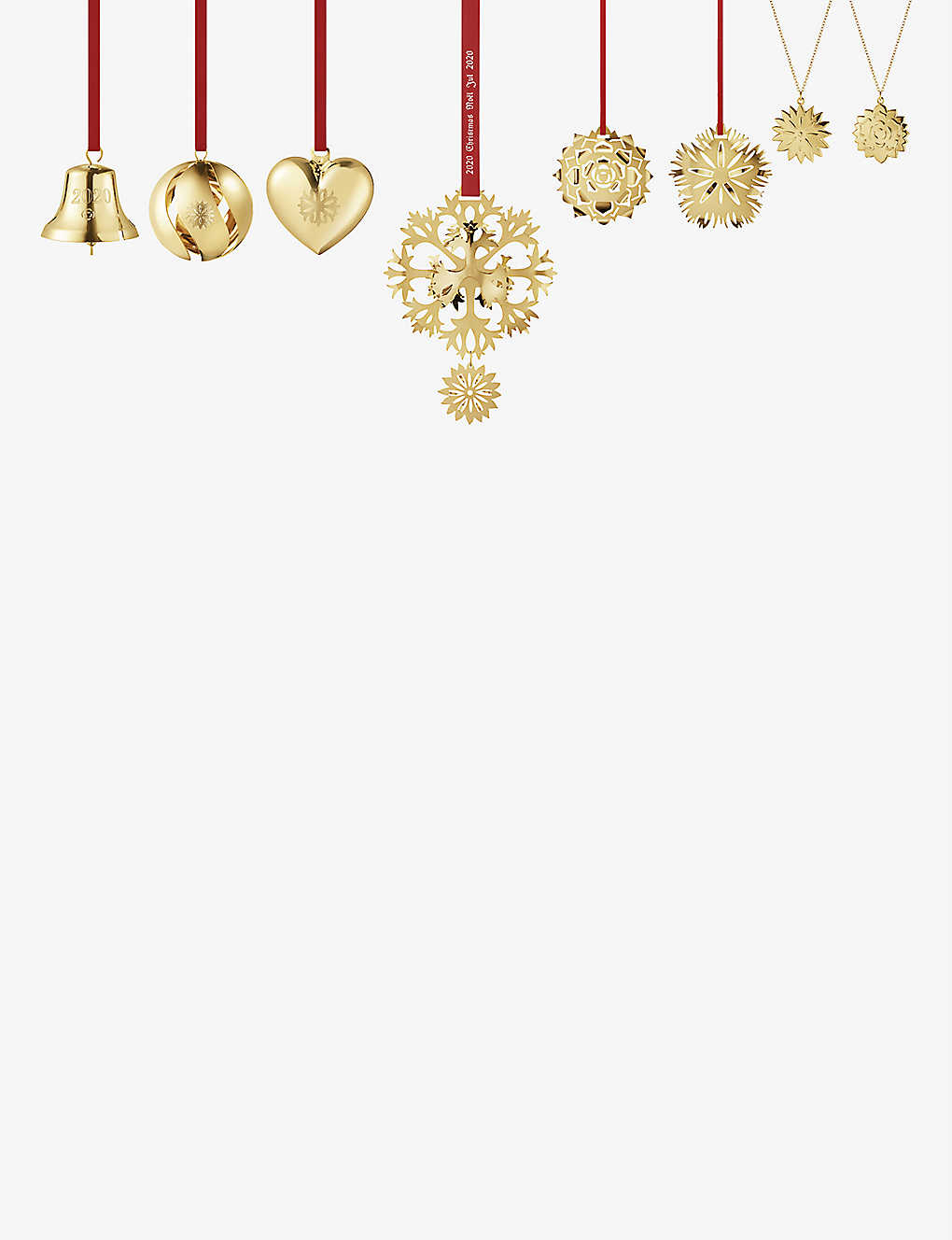 GEORG JENSEN: Bell & Heart 18ct gold-plated tree decorations set of eight