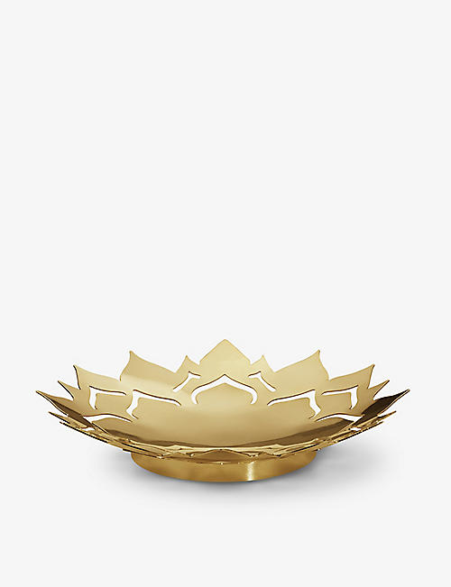 GEORG JENSEN: Ice Flower 18ct gold-plated bowl 12cm
