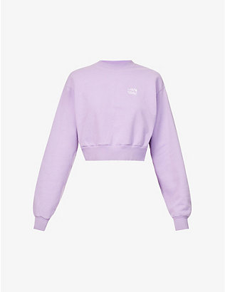 LIVINCOOL: Brand-embroidered cropped cotton-jersey sweatshirt