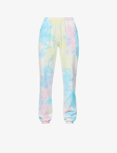 LIVINCOOL: Essential tie-dye pattern high-rise cotton-jersey jogging bottoms