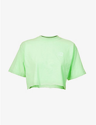 LIVINCOOL: Essential logo-embroidered cropped cotton-jersey T-shirt