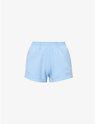 LIVINCOOL: Essential logo-embroidered mid-rise cotton-jersey shorts