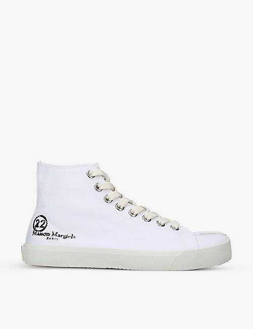 MAISON MARGIELA: Tabi split-toe high-top cotton-canvas trainers