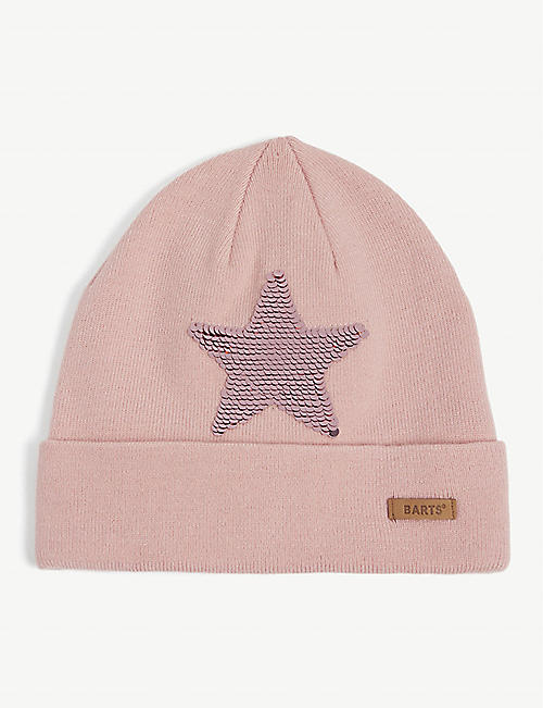 BARTS AL: Kate flip sequin star-embroidered woven beanie 4-8 years