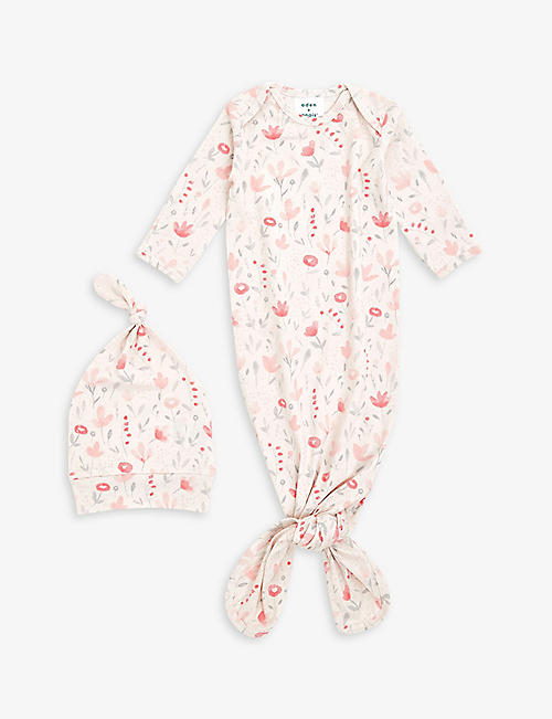 ADEN + ANAIS: Stretch-cotton gown and hat 0-3 months