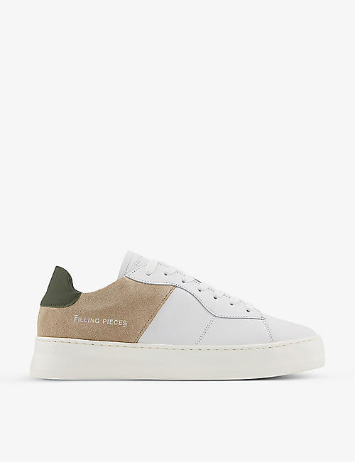 FILLING PIECES: Low Plain Court leather low-top trainers