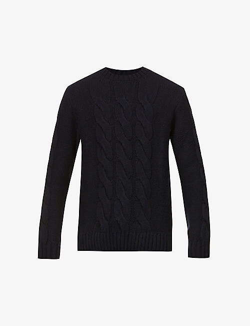 BARBOUR: Lennox Cable crewneck wool- and cashmere-blend jumper