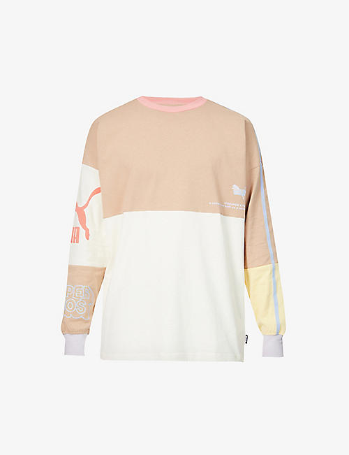 PUMA: PUMA x KidSuper colour-blocked cotton-jersey top