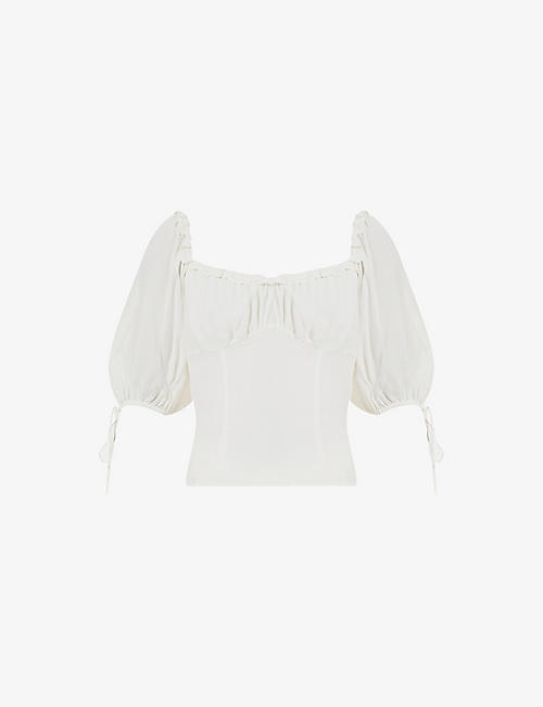 REFORMATION: Cantalope puff-sleeve woven top