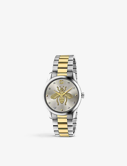GUCCI: YA1264131 G-Timeless stainless steel quartz watch with yellow-gold plating