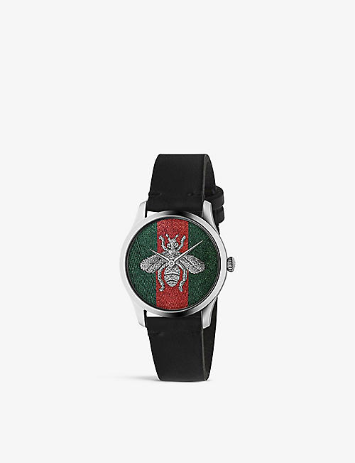 GUCCI: YA1264149 G-Timeless stainless steel and leather watch