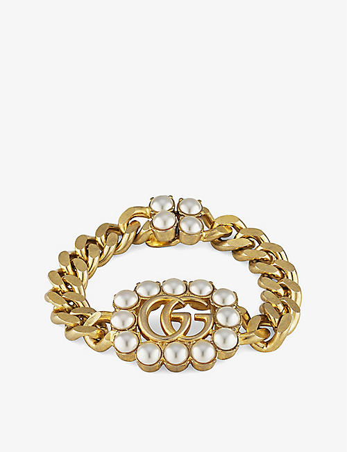 GUCCI: GG Marmont pearl-embellished gold-toned bracelet