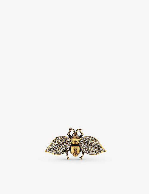 GUCCI: Bee crystal-embellished gold-tone hair slide