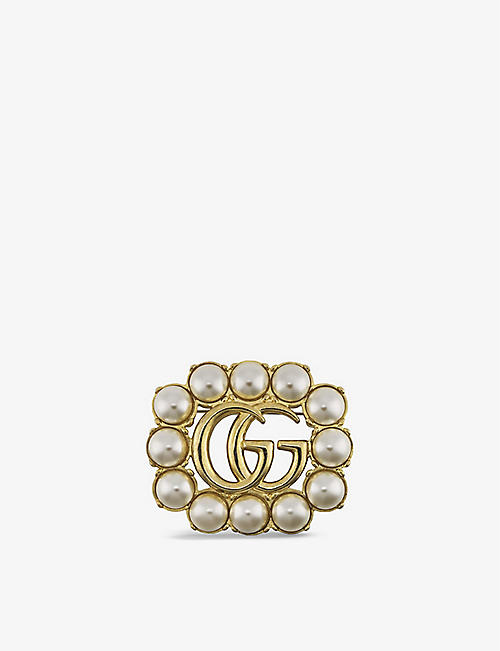 GUCCI: GG Marmont gold-tone and faux-pearl brooch