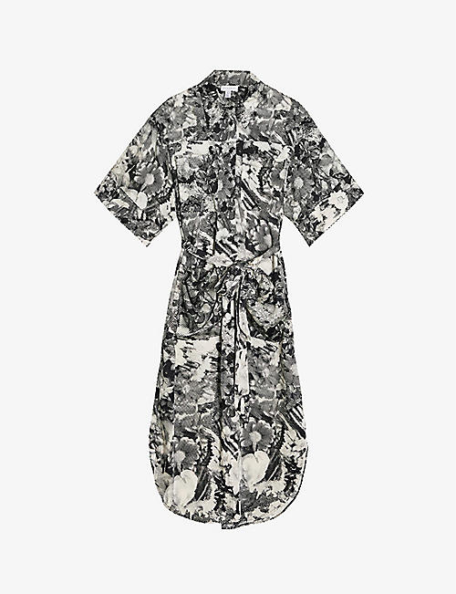 TOPSHOP: Boutique floral-print midi cotton shirt dress