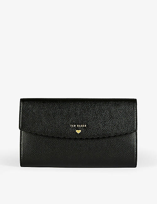 TED BAKER: Logo-embossed leather travel wallet
