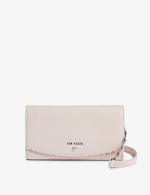 TED BAKER: Safinna scallop-detail leather wallet-on-chain