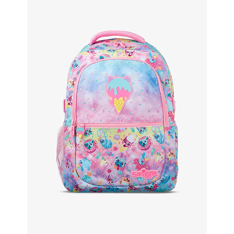 Smiggle Kids' Galaxy Attach Cartoon-print Woven Backpack In Food