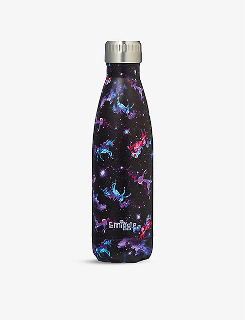 SMIGGLE: Galaxy unicorn-print stainless-steel drink bottle 500ml