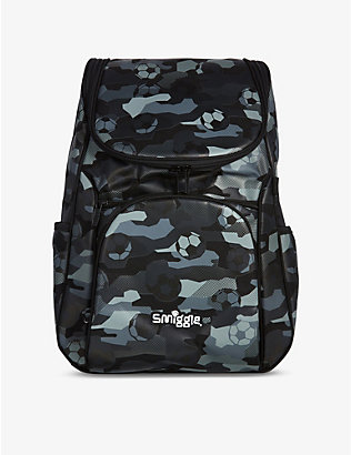 SMIGGLE: Illusion Reflective Access football-print woven backpack